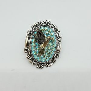 Rhinestone hummingbird cocktail ring sample